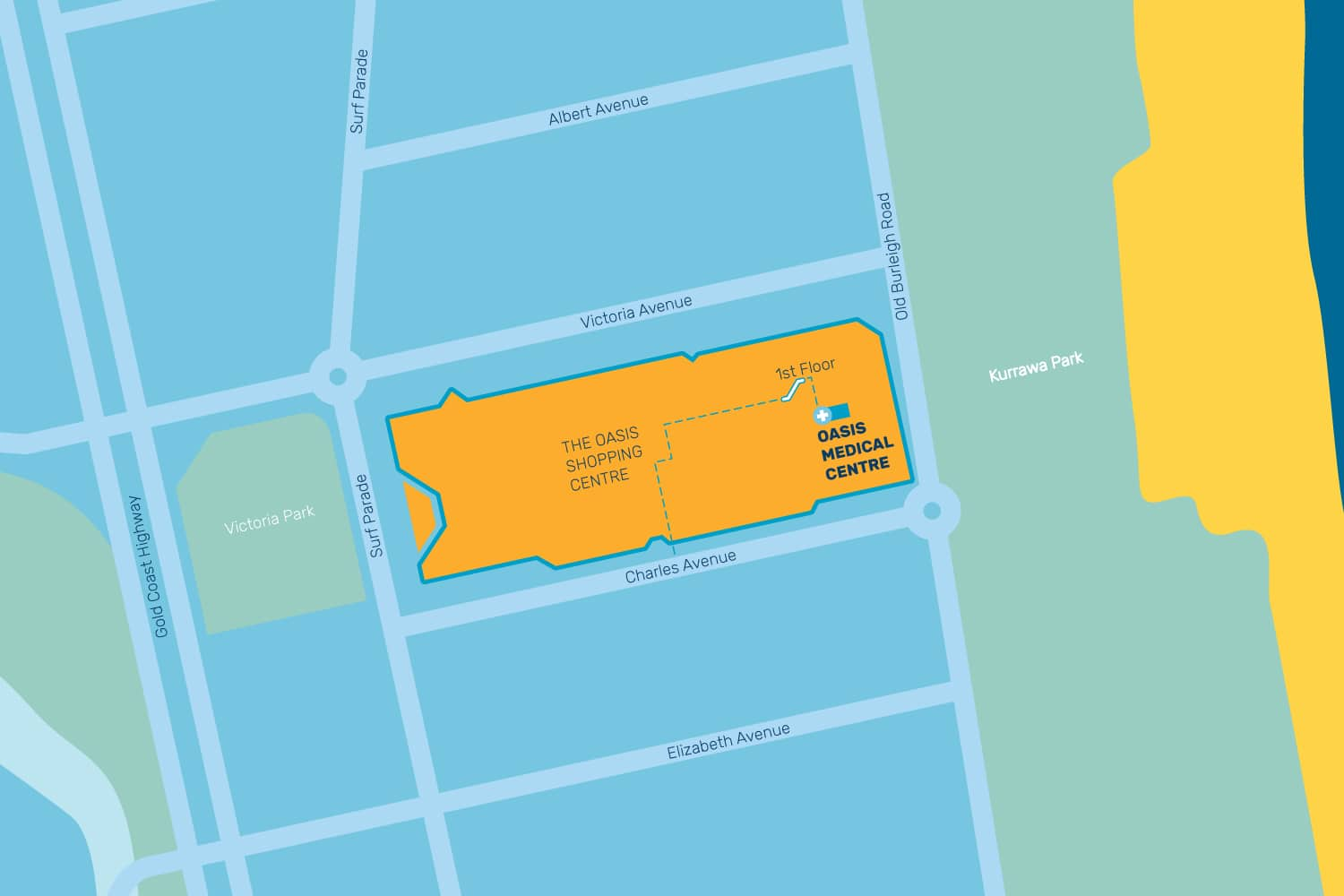gp medical centre broadbeach - mermaid waters mermaid beach doctors gold coast - oasis medical centre - contact map